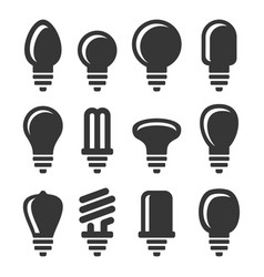 light bulbs icons set on white background vector image