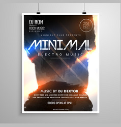 minimal grunge style music party flyer template vector image