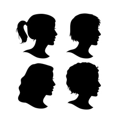 Set of Female Cameo Silhouettes vector image vector image