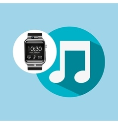 smart watch on hand- music note vector image
