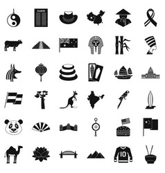 world icons set simple style vector image vector image