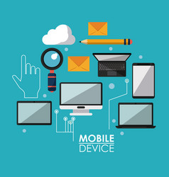 blue poster with common mobile devices and icons vector image