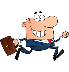 Businessman Running To Work With Briefcase vector image vector image