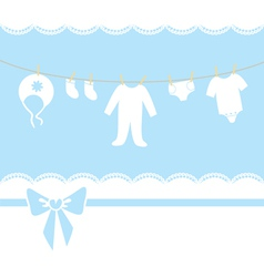 Childrens clothes are drying on a rope vector image vector image