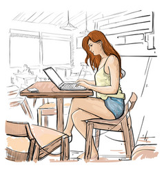 girl typing on laptop computer sketch young woman vector image vector image