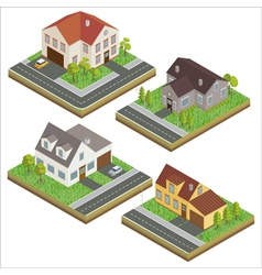 Modern house modern home isometric cottage set vector