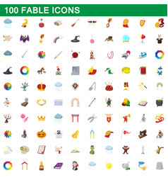 100 fable icons set cartoon style vector image