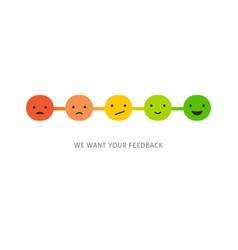 Emoticons scale survey - feedback concept design vector