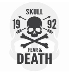 Fear and death print Skull and cross bones logo vector image