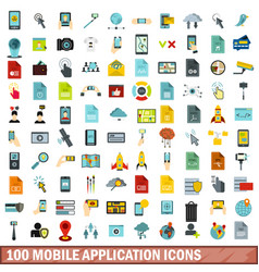 100 mobile application icons set flat style vector image