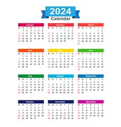 2024 Year calendar isolated on white background vector image