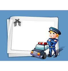 A policeman with a police car beside a blank paper vector image vector image