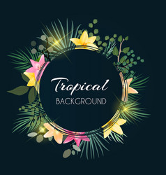 abstract natural tropical frame dark background vector image