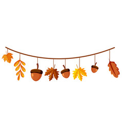 Acorn and fall leaves for decor vector
