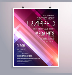 amazing shiny lights music flyer template with vector image