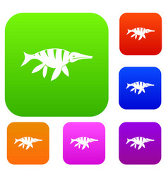 aquatic dinosaur set color collection vector image