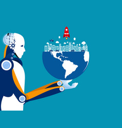 Artificial intelligence holds globe concept vector