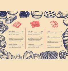 Bakery hand drawn restaurant menu brochure vector