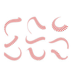 Baseball laces set baseball stitches with red vector