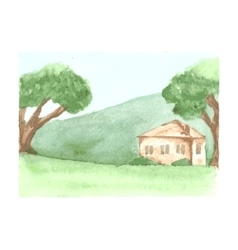Beautiful watercolor landscape with country house vector