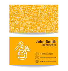 Beekeeper apiary business card template vector