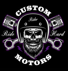 biker skull with beard and crossed pistons vector image