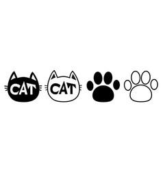 black cat head face contour silhouette icon set vector image