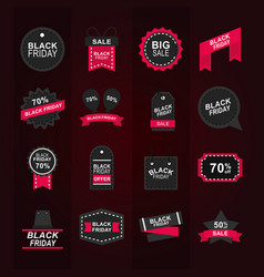 black friday sale offer discount collection icons vector image