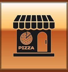 Black pizzeria building facade icon isolated on vector