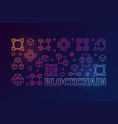 Blockchain colorful horizontal vector