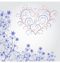 Blue grunge flower with heart vector image