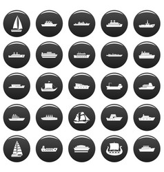 boat icons set vetor black vector image
