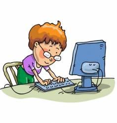 boy on computer vector image