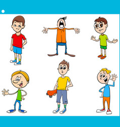 boys children characters cartoon set vector image