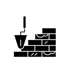 brick laying black icon sign on isolated vector image