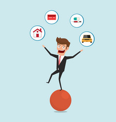 businessman balancing on sphere and juggling vector image