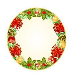 Button circular Christmas Spruce with red ribbons vector