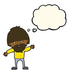 Cartoon happy bearded man waving with thought vector