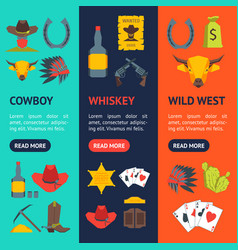 cartoon symbol of cowboy banner vecrtical set vector image