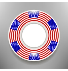 Ceramic Plate with American Flag Print Isolated vector