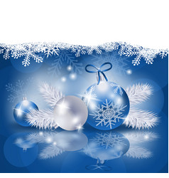 Christmas background with baubles in blue vector