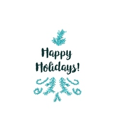 Christmas card on white background with blue vector image