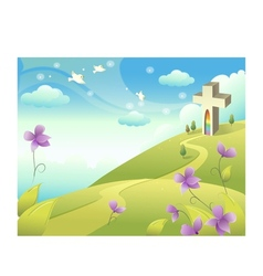 Church Landscape Background vector image