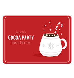 Cocoa party invitation template with decorative vector