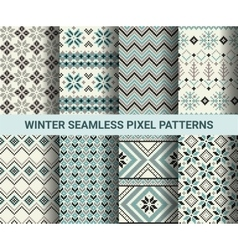 Collection of pixel retro seamless patterns vector