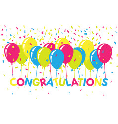 congratulations colorful with confetti and vector image