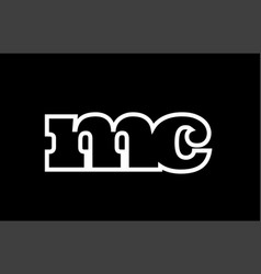 Connected mc m c black and white alphabet letter vector