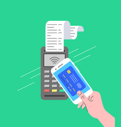 Contactless payment terminal concept smartphone vector