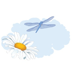 daisy and dragonfly vector image