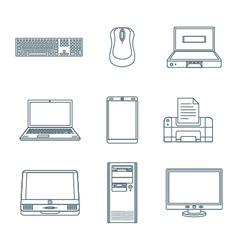 Dark outline computer gadgets icons vector